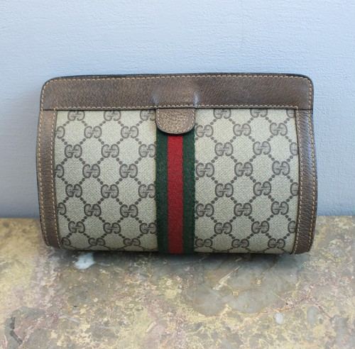 .OLD GUCCI SHERRY LINE GG PATTERNED CLUTCH BAG MADE IN ITALY/オールドグッチシェリーラインGG柄クラッチバッグ 2000000034249