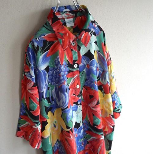 1980's [C&A] フローラルパターン S/S ヴィスコースシャツ