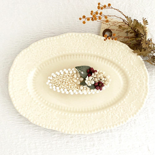 "Hair accessory :  バレッタ "" Embroidery and flower. "" 