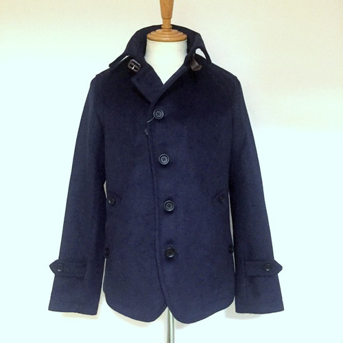 Wool Melton Single P-Coat Navy