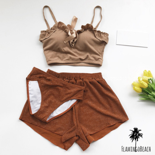 【FlamingoBeach】 brown bikini set ビキニセット 43777