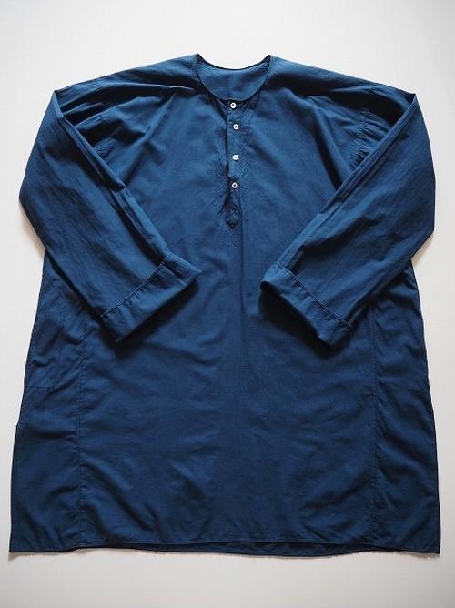 【フランス】 アンティークコットンロングシャツ [染物/青藍色]