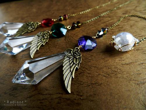 【再販】~希いの翼~スワロとオーロラクラック水晶のペンデュラム(全3色)