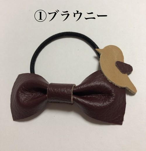 ヨコタ蝶ネクタイヘアゴム第二弾 (レザーハンドメイド1点物)