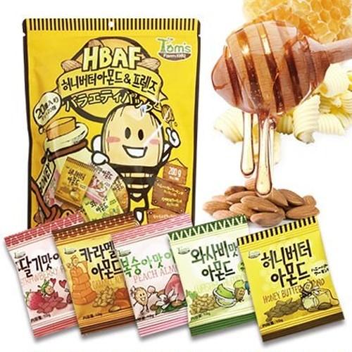 『Tom`s farm』 ハ二ーバターアーモンド&バラエティパック (200g10g20個) ナッツ ハ二-バタ-味 おつまみ 韓国お菓子 韓国食品