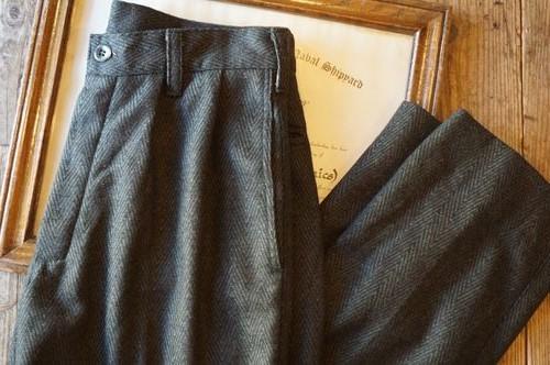 90's unknown herring bone tweed wool Pants