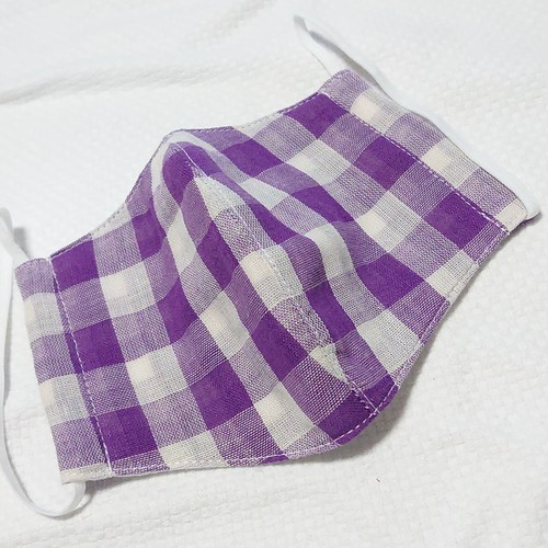 【送料込み】涼しい 布マスク ガーゼ カバー オリジナルクリエイター作品 大きい紫チェック
