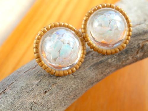 Opal ♦︎オーストラリアオパール♦︎アンティークゴールドビーズ イヤリング L