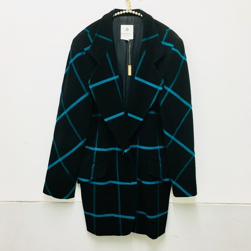 tape check tailored wool coat