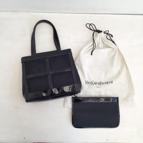 Yves Saint Laurent mesh × enamel leather hand bag