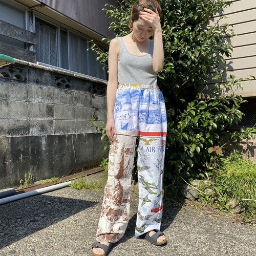 Vintage fabric patchwork remake pants Air Force