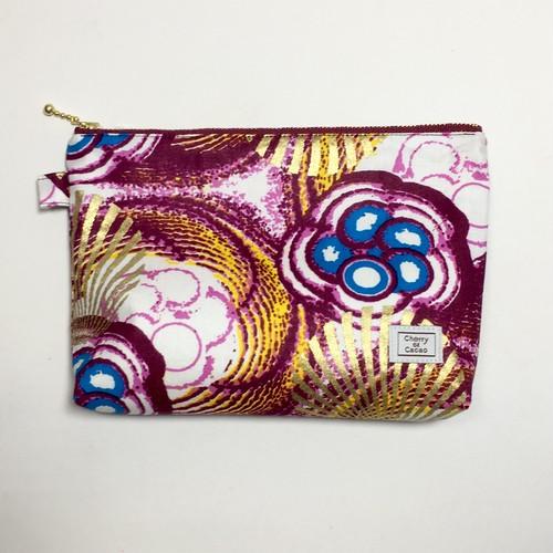 ポーチ アフリカンテキスタイル(日本縫製) 「ブルーベリー」 赤紫 x ブルー x ホワイト x ゴールド|アフリカ エスニック ガーナ布