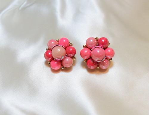 VINTAGE pink beads earring