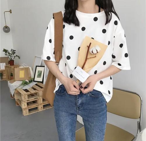 カジュアルトップス♡ ドット柄 Tシャツ ラウンドネック 半袖