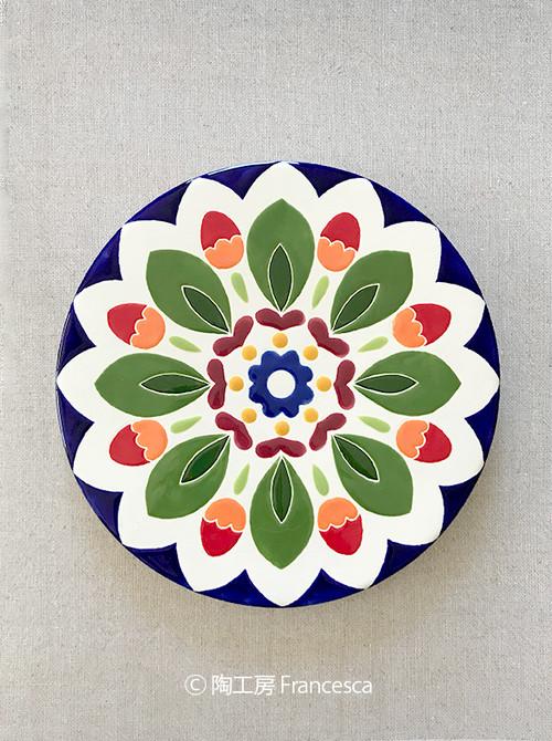 【受注制作】スペインタイルアート:赤い実のお皿(M):PFC-001M
