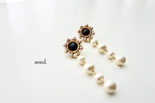 sunflower ピアス 〜beige×pearl〜