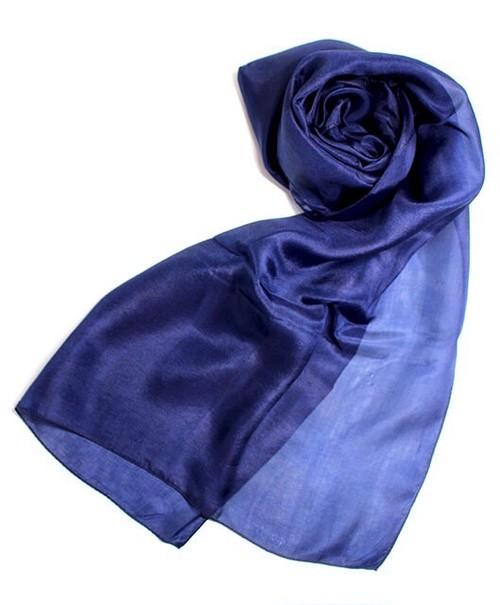 本藍染めシルクスカーフ すくも藍