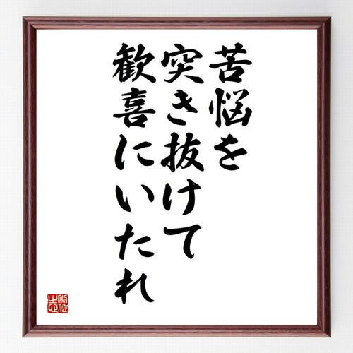 ベートーヴェンの名言書道色紙『苦悩を突き抜けて歓喜にいたれ』額付き/受注後直筆(千言堂)Z1900