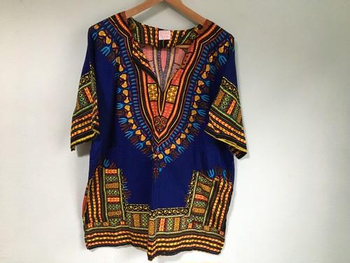 ジャマイカ製 カラフル ダイシキシャツ ミニワンピース / 民族 エスニック レゲエ サイケ 60s 70s ヒッピー