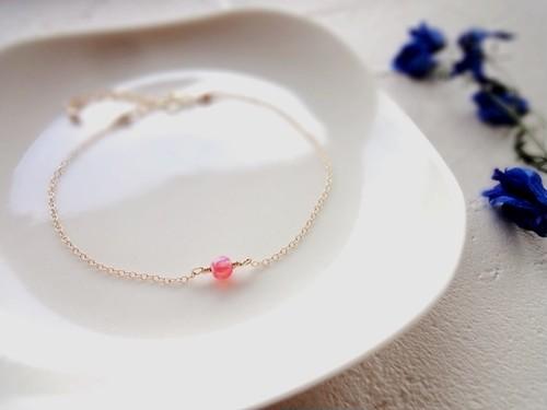 【受注生産】一粒の幸福 ブレスレット■14kgf 京都オパール■ピンク