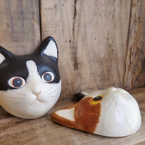 (152) ひだまりのら 手漉き和紙 猫 ネコ ミニ お面 黒白猫 三毛猫 マスク 壁掛け 飾り