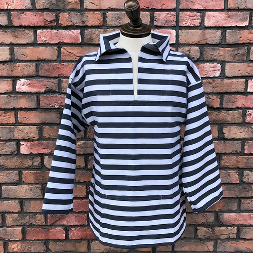 1980-90s Deadstock Fishermen's Smock Marine Stripe Pattern Gray×White Small