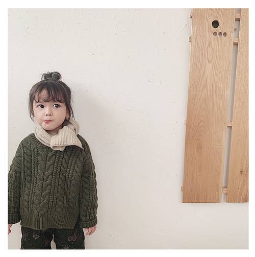 【注文商品】【ベビー / キッズ】Toddler Knit Sweater Round Neck【Khaki】