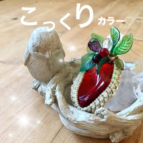 【こっくりカラー・木イチゴ】森の木の実の贈り物〔アンダラクリスタルペンダント・レムリアンサンライズ〕