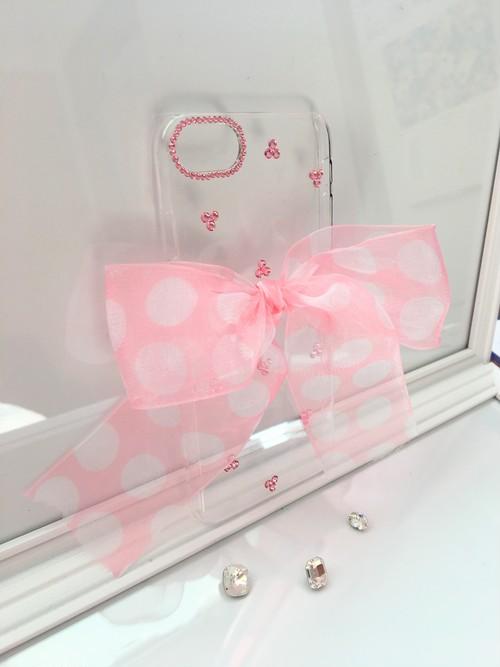 縁結び♡iPhone7ケース スワロフスキーとドット柄オーガンジーリボン