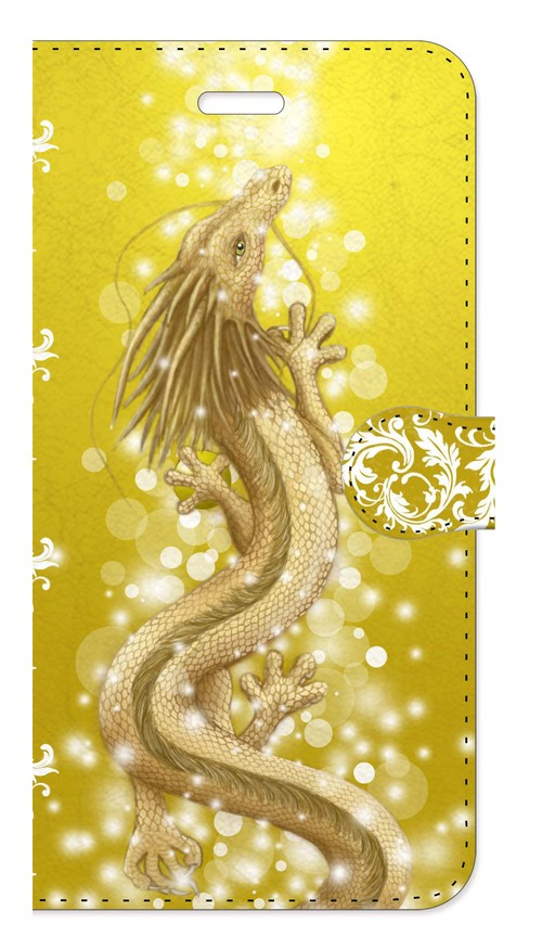 【iPhone6Plus/6sPlus】豊かさの金龍 Golden Dragon of Abundance 手帳型スマホケース