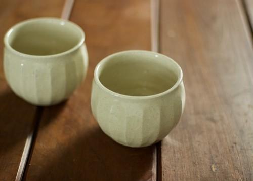 白橡釉 丸湯のみ(面)