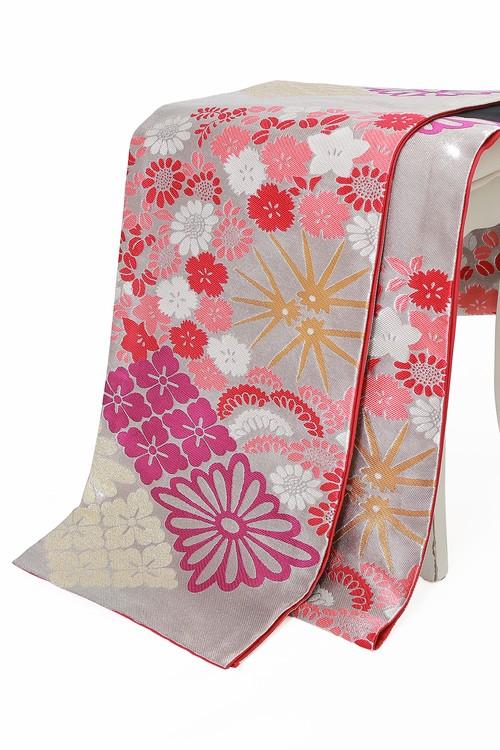 芸艸堂振袖用袋帯 仕立て上がり 納期2週間 袋帯単品 ブランド 花扇 シルバー