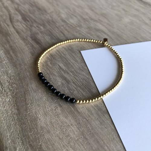 TEN Onyx stone & 14KGF Beads / ストレッチ ループ ブレスレット