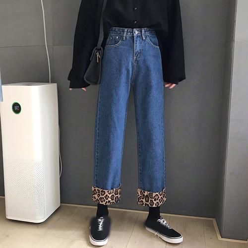 【送料無料】アンクル丈で脚長効果♡裾レオパード ストレート デニム パンツ シンプル