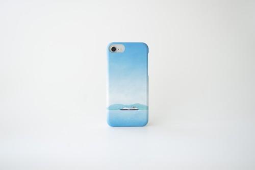 青い空と船を描いた、スマホケース
