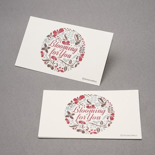 bloomingフラワーメッセージカード(青/赤)
