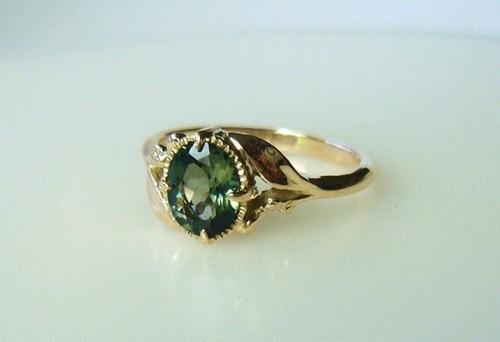 グリーントルマリンとK10の植物の指輪