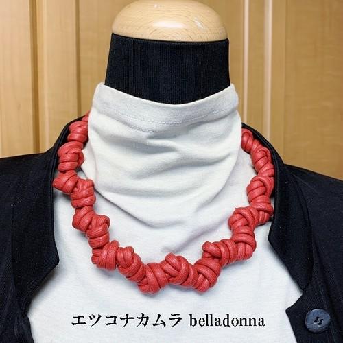 綿ロープ赤のマクラメ編みネックチョーカー