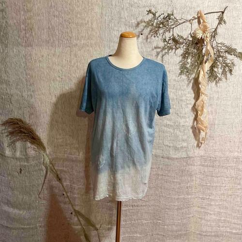 【天然素材・草木染め】Tシャツ ヘンプコットン 藍染Mサイズ