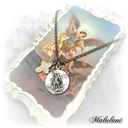 大天使ミカエル W メダイ&フォー・ウェイ・クロス 十字架 ペンダント