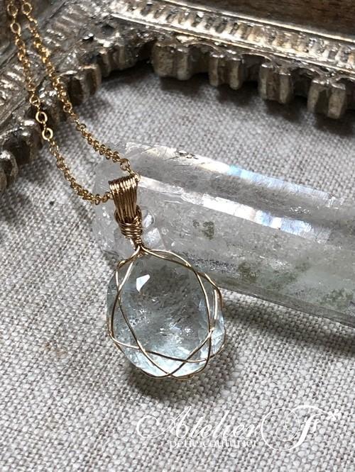 【宝石質】アクアマリンのワイヤーラッピングのペンダント