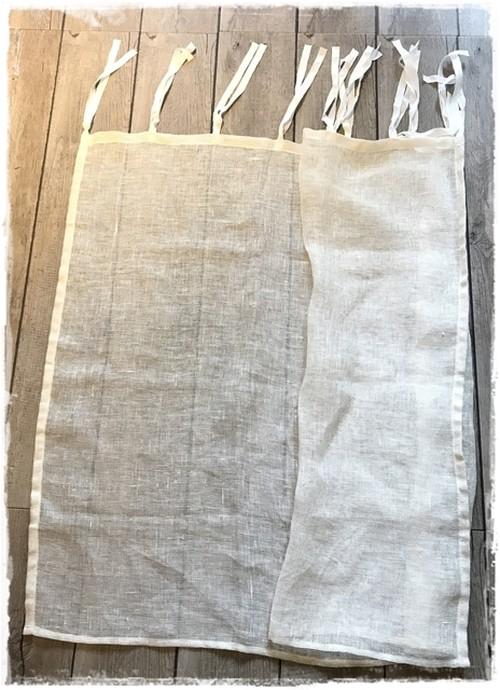 ♥リネンメッシュ*フラットリボンカーテン【ショート】アイボリーホワイトW132×H87 ♦現品限り セール中 ♥