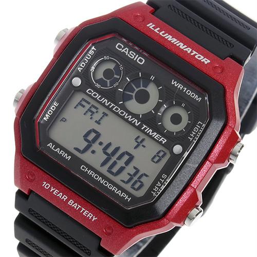 カシオ CASIO クオーツ メンズ 腕時計 AE-1300WH-4A ブラック/レッド 液晶