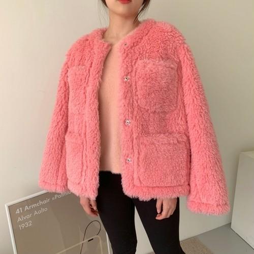 ポケットファージャケット もこもこ ジャケット  韓国ファッション