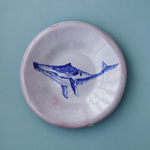 POTTER'S HUSBAND soup plate painted whale _Red
