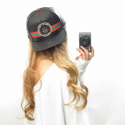 ライン/クロコレザー調/刺繍/セレブCAP/キャップ/帽子