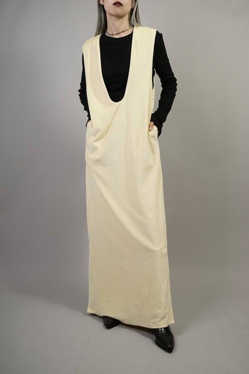 VELOURS U-NECK DRESS (YELLOW) 2109-08-HK84