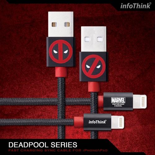 InfoThink USBケーブル MARVEL デッドプール2 iPhone/iPad Lightningケーブル 急速充電・同期ケーブル