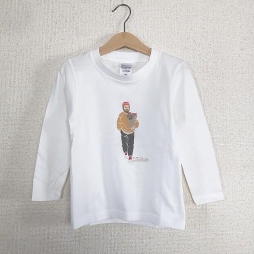 長袖Tシャツ 花束おじさん 白(kidsサイズ)