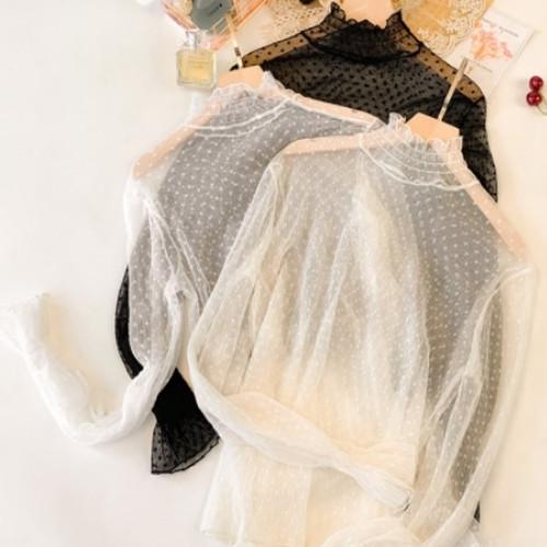 【送料無料】 シースルー 長袖トップス レディースファッション レディース 春 夏 プルオーバー 総レース シャツ 透け感 抜け感 肌見せ ハイネック フリル ふんわり 大人かわいい 韓国ファッション 大人女子 インスタ映え 上品 ゆったり きれいめ リゾート 旅行 美レトロ トレンドライク